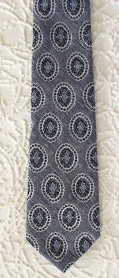 Mens tie black and white patterned tie by FOLKESPEARE with blue pattern